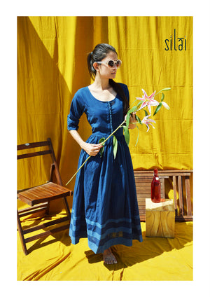 Shades of Indigo Gathered Dress