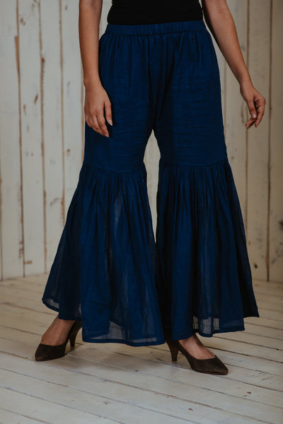 Indigo Maroon Sharara Set