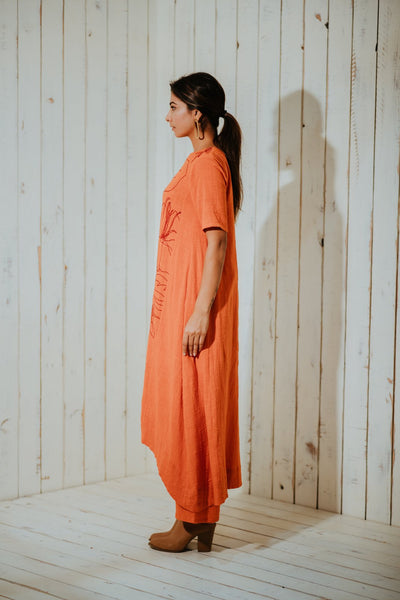 Tangerine Foliage High-Low Tunic