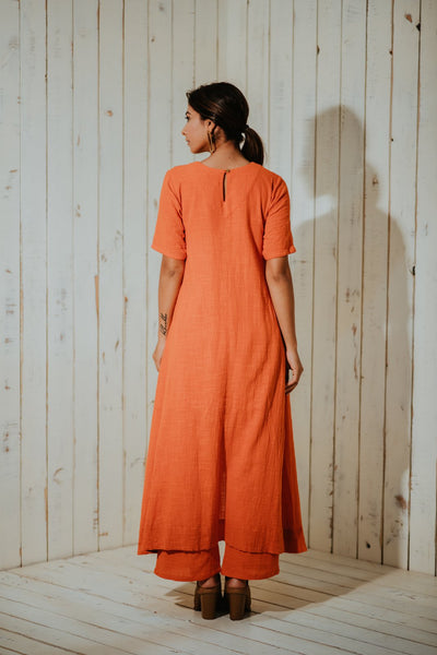 Tangerine Foliage High-Low Tunic and Pants SET