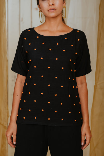 Black Tang Polka Top