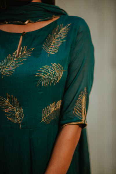 Green Cotton Embroidered Palm Kalidaar Set
