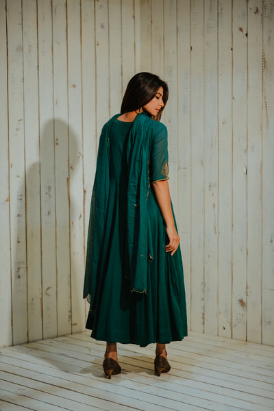 Green Cotton Embroidered Palm Kalidaar Set with Dupatta