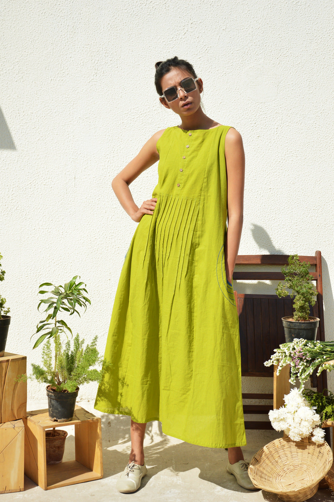 Lime Green Waist-Tucks Dress