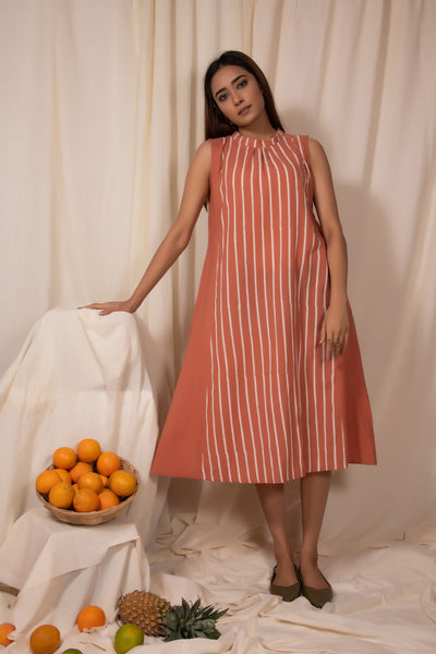 Apricot Band Neck Dress