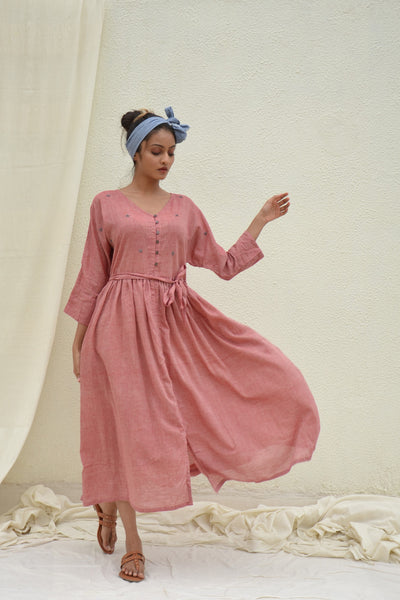 Soft Red Batwing Mulmul Dress