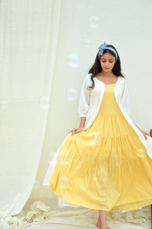 Yellow Mulmul Tiered Dress with Cape