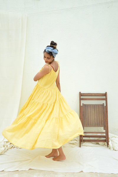 Yellow Mulmul Tiered Dress