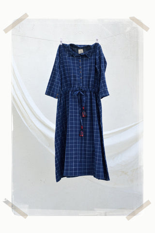 small checks draw waist shirt dress