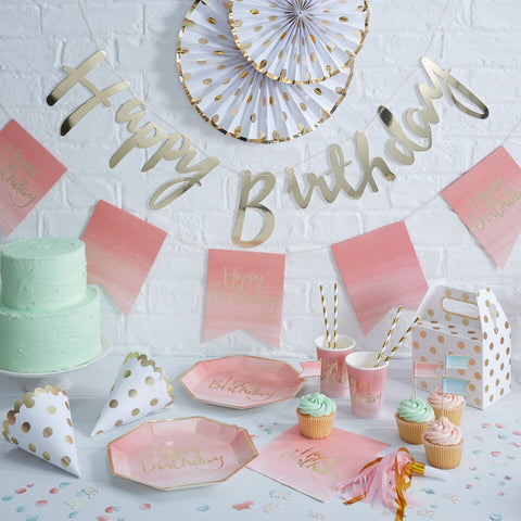 Gold Foil 'Happy Birthday' Bunting