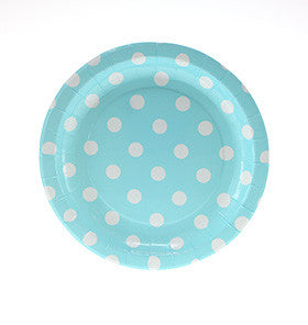 Blue with White Polkadots Cake Plates