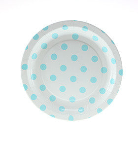White with Blue Polkadots Cake Plates