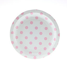 White with Pink Polkadots Cake Plates