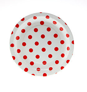 White with Red Polkadots Cake Plates