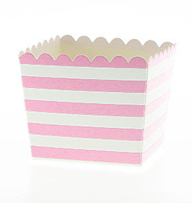 Pink Stripe Scallop Favour Boxes
