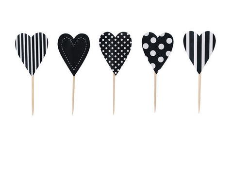 Black and White Cupcake Toppers