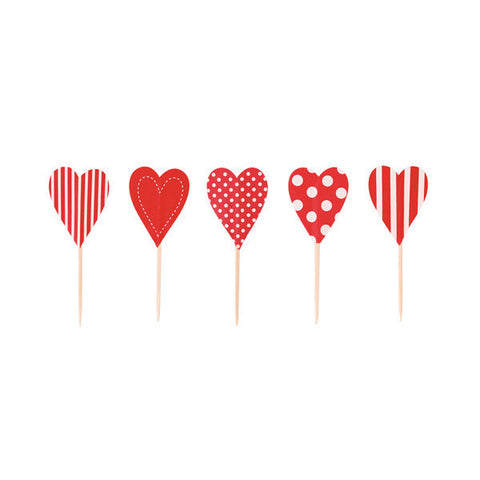 Cupcake Toppers Candy Cane Hearts