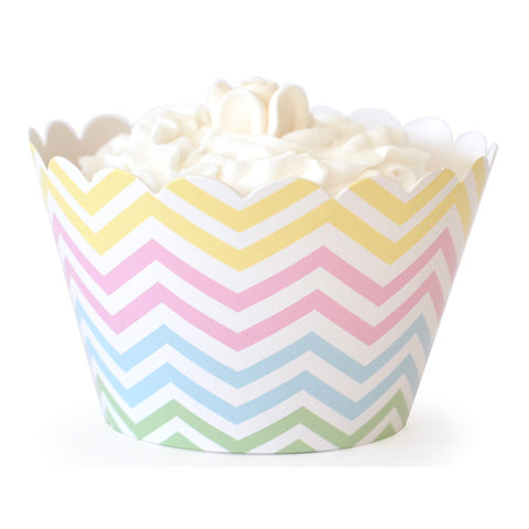 Chevron Pastels Cupcake Wrappers