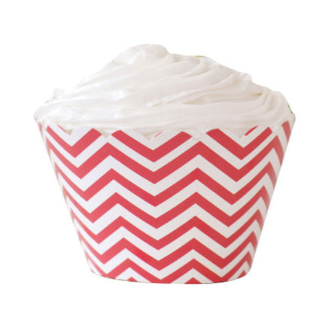 Red Chevron Cupcake Wrappers