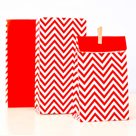 Red Chevron Party Bags