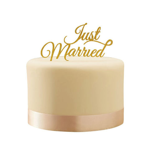 Gold Sparkling 'Just Married' Cake Topper
