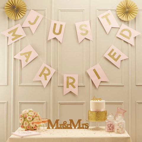 Pink and Gold Wedding Bunting