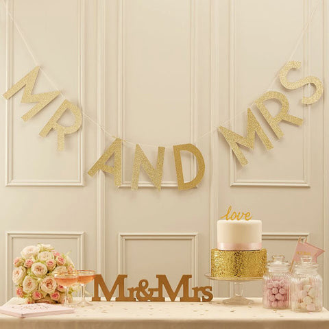 Mr and Mrs Wedding Bunting Gold