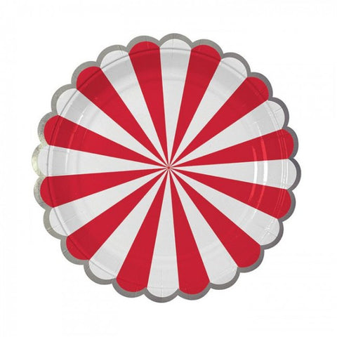 Red & White Stripe Paper Plates