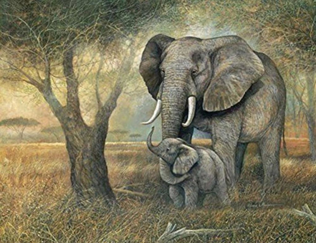 Elefant und Little by the Tree