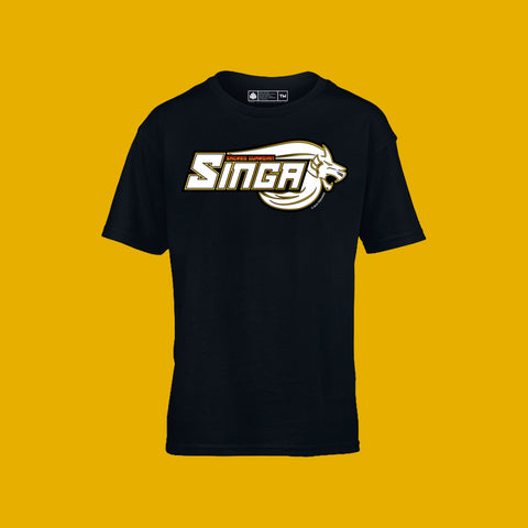 Sacred Guardian Singa Logo Kids Tee Black