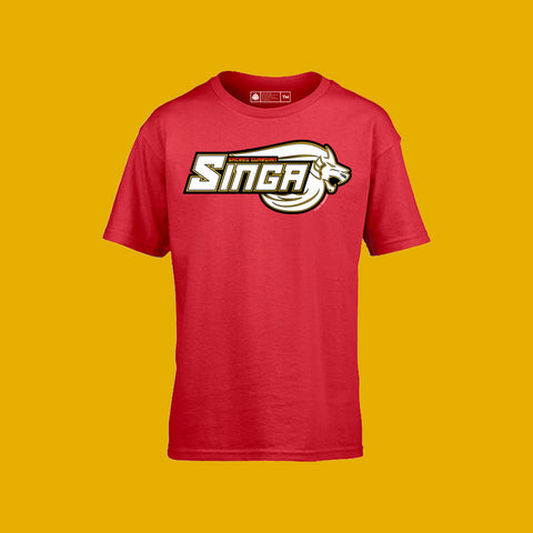 Sacred Guardian Singa Logo Kids Tee Red