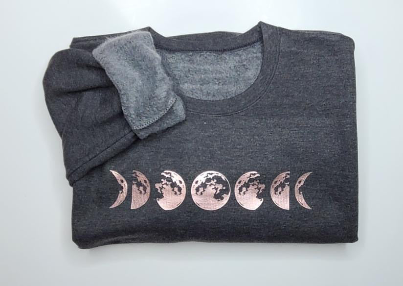 Moon Phases Rose Gold Crew Sweater