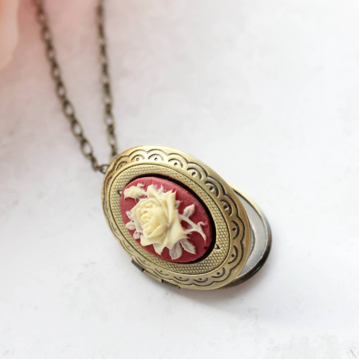 Cameo Locket Necklace - Red Rose