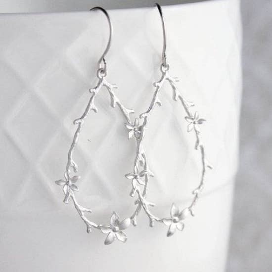 Twig and Flower Hoop Earrings