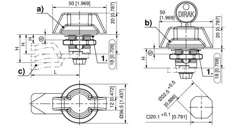 100-9315.00-00000 Stainless Steel IP66 Quarter-turn with wing knob - without cylinder