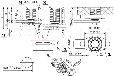 7-086 Flush-mounted Compression Latch L37 Stainless Steel drawing