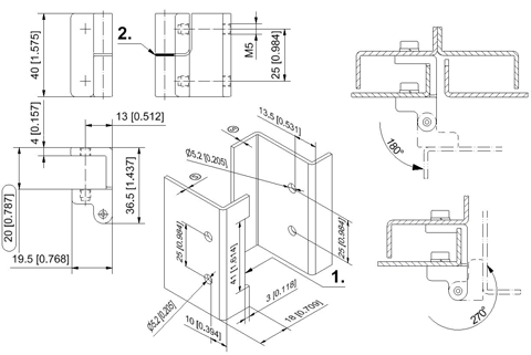 212-9093.00 Pr05 180° Stainless Steel Hinge, Right hand version drawing