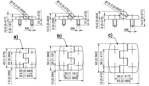 7-201.01 180° Stainless steel hinge with stud (M5) drawing