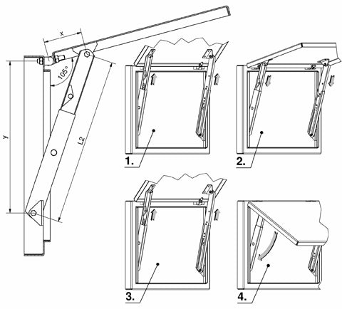 230-9001.00 Telescopic Cover Support (335mm extended length)