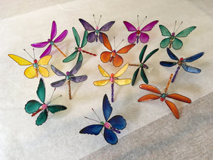 MARDI GRAS DRAGONFLY WINDOW SUCKERS