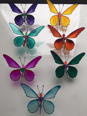 MARDI GRAS BUTTERFLY & DRAGONFLY WINDOW SUCKERS