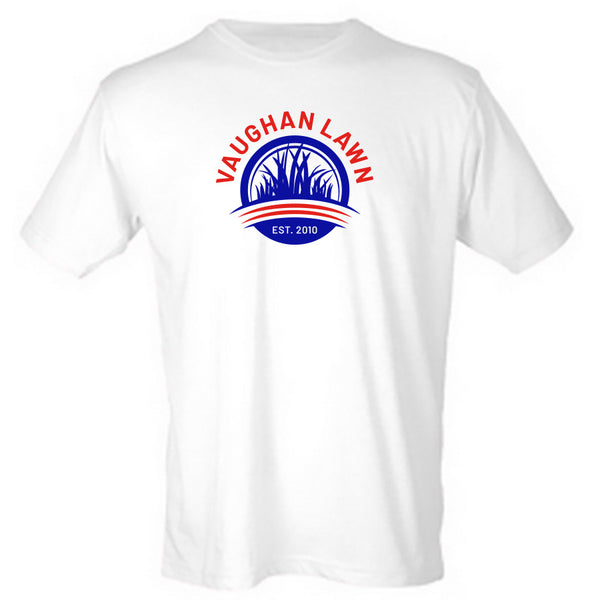 Vaughan Lawn Classic Tee (Heather White with Flag Red & Blue Ink)