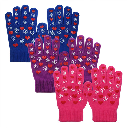 EvridWear Boys Girls Snowflake Print Magic Stretch Gripper Gloves 3 Pairs Pack-EvridWearUS