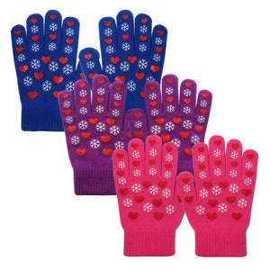 EvridWear Boys Girls Snowflake Print Magic Stretch Gripper Gloves 3 Pairs Pack
