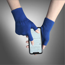Load image into Gallery viewer, EvridWear Navy Merino Wool String Knit Liner Fingerless Gloves