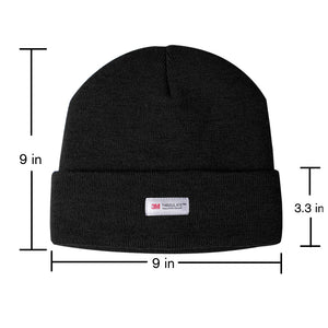 Evridwear Winter 3M Thinsulate Thermal Hat,Fleece Lined Beanie for Running, Skiing, Camping for Kids (Black)-EvridWearUS