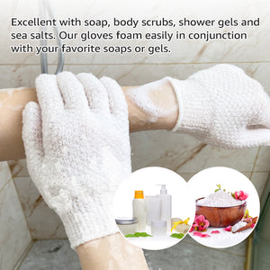 EvridWear Exfoliating Dual Texture Bath Gloves for Shower, Spa, Massage and Body Scrubs, Dead Skin Cell Remover, Gloves with hanging loop-EvridWearUS