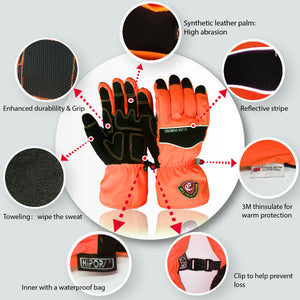 Evridwear Ski & Snowboard Winter Warm Gloves Waterproof for Cold Weather and Outdoor Sport (Orange)