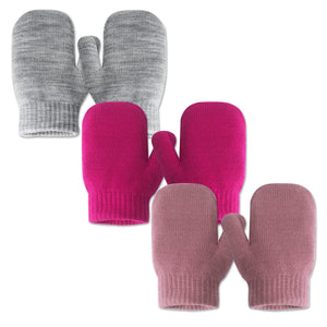 EvridWear 3 Combinations of Infant Thermal Warm Stretch Knitted Mittens, Toddlers Plain Soft Anti Scratch Winter Gloves for Kids (3 Pairs)