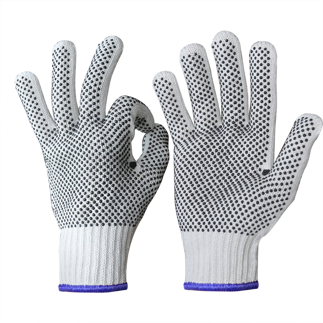 EvridWear 12 Pairs Pack Cotton Polyester String Knit Work Gloves with both side dots